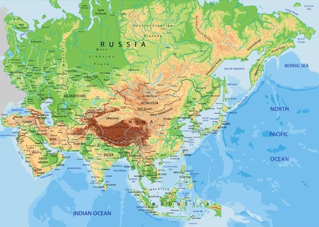 Illustration for High detailed Asia physical map with labeling - Royalty Free Image