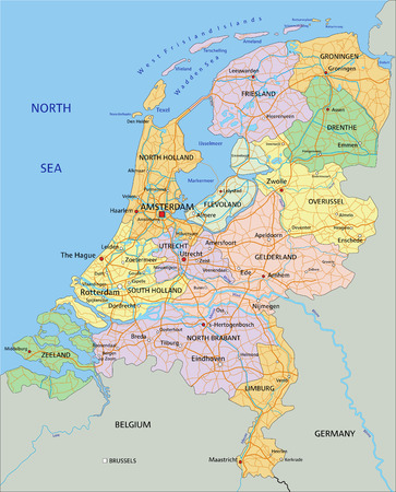 Illustration pour Netherlands - Highly detailed editable political map with separated layers. - image libre de droit