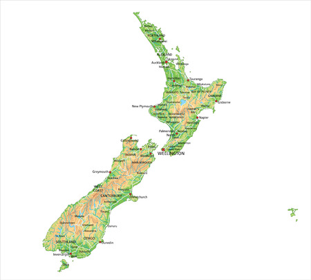 Illustration pour High detailed New Zealand physical map with labeling. - image libre de droit
