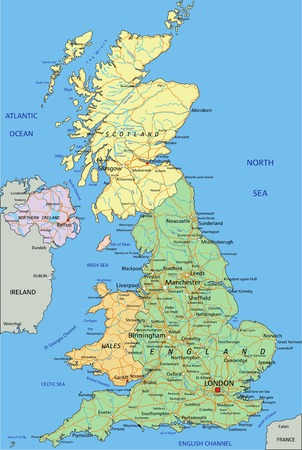 Illustration pour United Kingdom - Highly detailed editable political map with separated layers. - image libre de droit