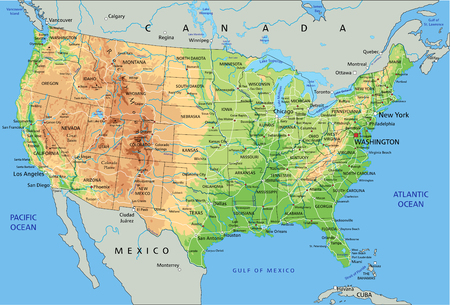 Illustration pour High detailed United States of America physical map with labeling. - image libre de droit