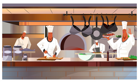 Illustration pour Cooks working at restaurant kitchen vector illustration. Busy chefs in uniform cooking dishes. Restaurant staff concept - image libre de droit