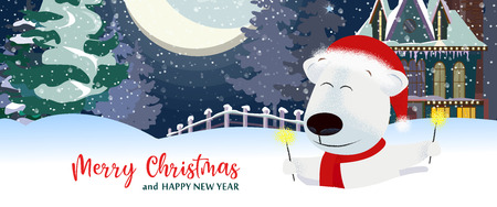 Illustration pour Merry Christmas and Happy New Year postcard design with white beer. Inscription with polar bear on background with snowy landscape. Can be used for postcards, invitations, greeting cards - image libre de droit