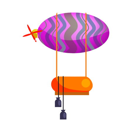 Illustration pour Hot air balloon with motor isolated vector. Dirigible, airship, adventure. Aerostat concept. Vector can be used for topics like transportation, aviation, travel - image libre de droit