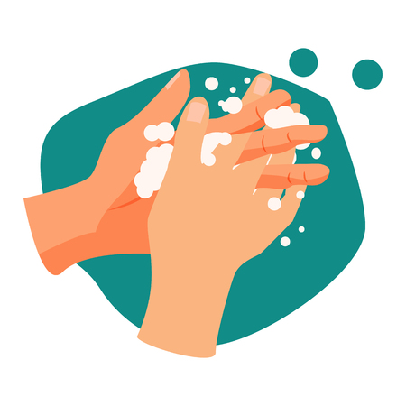 Ilustración de Handwashing illustration. Water, washing hands, cleaning. Hygiene concept. Vector illustration can be used for healthcare, skincare, hygiene - Imagen libre de derechos