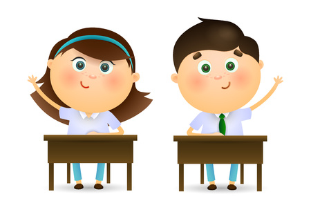Illustration for Schoolchildren raising hands at lesson. Cartoon kids sitting at desks and ready to ask teachers question. Can be used for topics like education, studying, school - Royalty Free Image