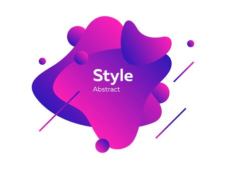 Photo pour Neon purple futuristic abstract graphic elements. Dynamical colored form and line. Abstract banner with irregular shapes. Template for logo, flyer, presentation design. Vector illustration - image libre de droit