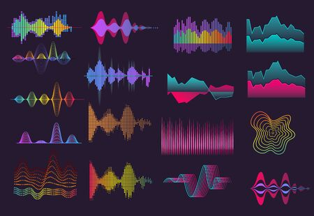 Ilustración de Colorful sound wave set. Neon, black background, voice, frequency. Sound concept. Vector illustrations can be used for topics like music, radio, soundwave - Imagen libre de derechos