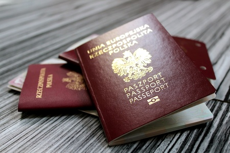Photo pour europe passports on elegant gray  background - image libre de droit