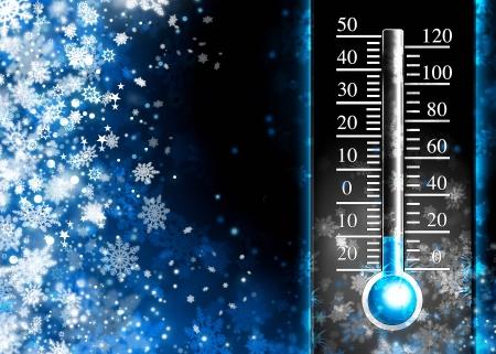 Foto de Below zero  Cold thermometer, minus temperature in cold snow winter - Imagen libre de derechos