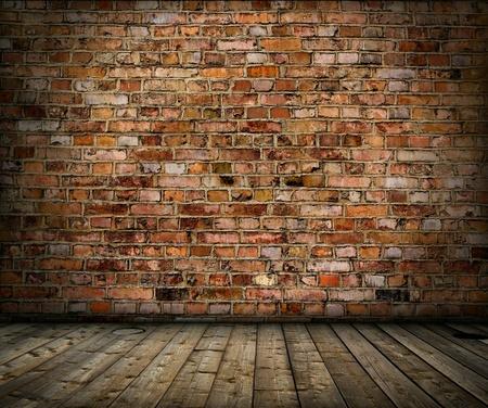 Foto de old grunge interior with brick wall and floor - Imagen libre de derechos