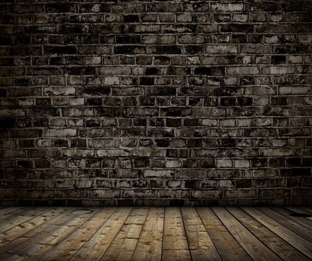 Photo pour interior with brick gray wall and wood floor background - image libre de droit