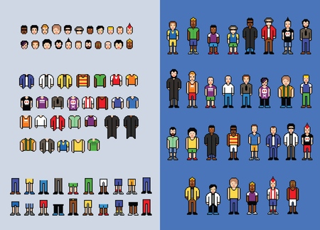Ilustración de Pixel art man avatar creator, set of video game style elements, isolated vector illustration - Imagen libre de derechos