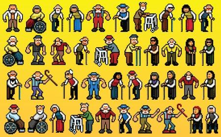 huge set of senior old people avatars - pixel art isolated layers vector illustration
