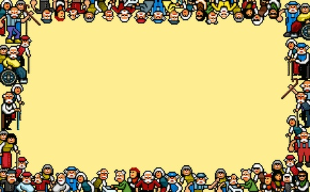 Old people photo frame - pixel art vector illustration