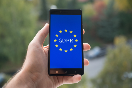 Foto de General Data Protection Regulation (GDPR)  on mobile phone - Imagen libre de derechos