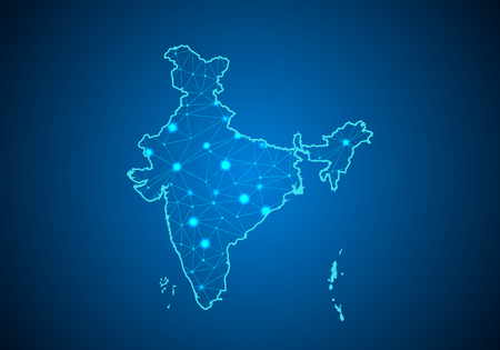 Illustration pour Abstract mash line and point scales on dark background with Map of india. Wire frame 3D mesh polygonal network line, design sphere, dot and structure. communications map of india.Vector illustration - image libre de droit