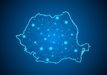 Illustration pour Abstract mash line and point scales on dark background with Map of romania. Wire frame 3D mesh polygonal network line, design sphere, dot and structure. communications map of romania. Vector. - image libre de droit