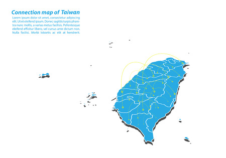 Illustration pour Modern of taiwan Map connections network design, Best Internet Concept of taiwan map business from concepts series, map point and line composition. Infographic map. Vector Illustration. - image libre de droit