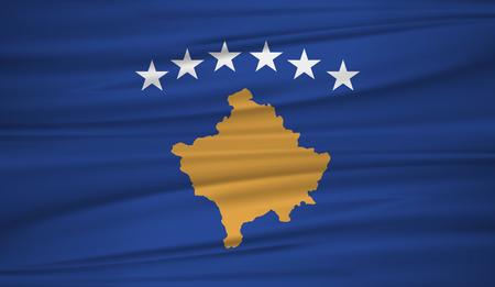 Illustration pour Kosovo flag vector. Vector flag of Kosovo blowig in the wind. - image libre de droit