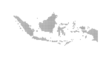 Illustration for Pixel map of Indonesia. Vector dotted map of Indonesia isolated on white background. Abstract computer graphic of Indonesia map. vector illustration. - Royalty Free Image