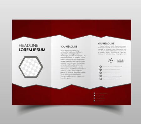 Illustration for tri-fold brochures, square design templates. Molecular construction with polgonal design, scientific pattern on abstract polygonal background, modern triangle vector texture. - Royalty Free Image