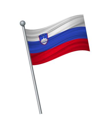 Ilustración de Slovakia flag on the flagpole. Official colors and proportion correctly. waving of Slovakia flag on flagpole, vector illustration isolate on white background. - Imagen libre de derechos