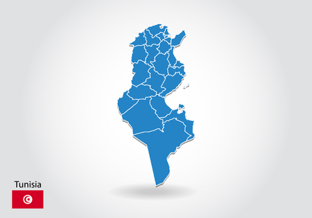 Illustration pour tunisia map design with 3D style. Blue tunisia map and National flag. Simple vector map with contour, shape, outline, on white. - image libre de droit