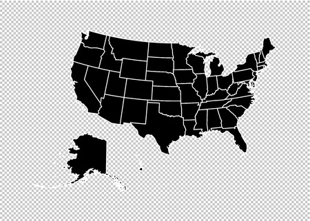 Illustration pour usa map - High detailed Black map with counties/regions/states of united state of America. us map isolated on transparent background. - image libre de droit