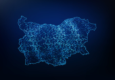 Illustration pour Abstract of bulgaria map network, internet and global connection concept, Wire Frame 3D mesh polygonal network line, design sphere, dot and structure. Vector illustration - image libre de droit