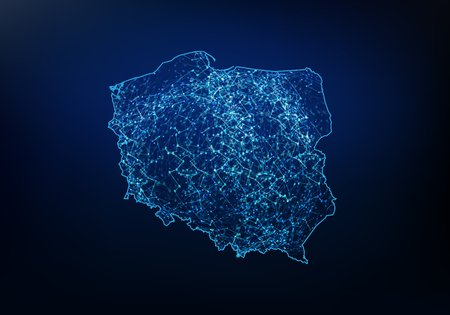 Illustration pour Abstract of poland map network, internet and global connection concept, Wire Frame 3D mesh polygonal network line, design sphere, dot and structure. Vector illustration eps 10. - image libre de droit