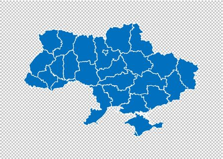 Illustration pour ukraine map - High detailed blue map with counties/regions/states of ukraine. ukraine map isolated on transparent background. - image libre de droit
