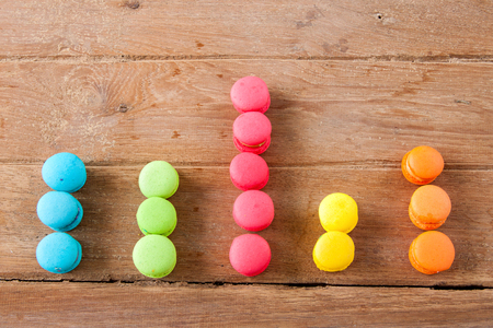 Foto de arranged in a bar graph colorful french Macaroon on wood  background - Imagen libre de derechos