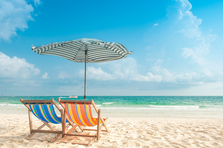 Two Chairs and Umbrella at the beach