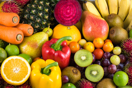 Photo for Group of fresh fruits and vegetables organics for healthy - Royalty Free Image