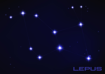 Vector illustration of Lepus constellation in blue mural