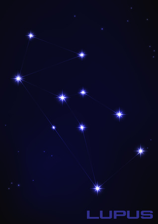 Vector illustration of Lupus constellation in blue mural