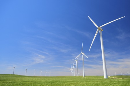Photo for Windmills for electric power production, Zaragoza province, Aragon, Spain - Royalty Free Image