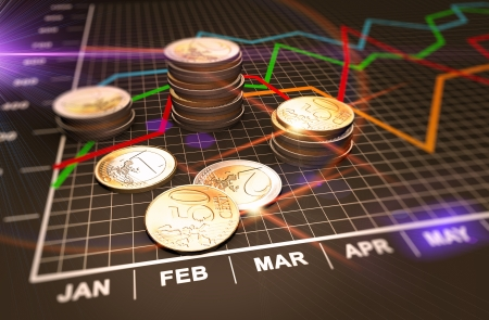Photo pour Financial business chart and coins  - image libre de droit