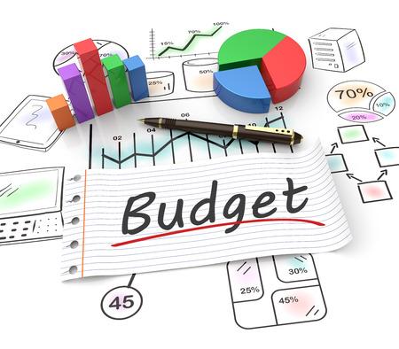 Foto de Pie chart on a stock chart with a budget  - Imagen libre de derechos