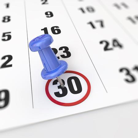 Foto de Calendar and blue pushpin. Mark on the calendar at 30. - Imagen libre de derechos