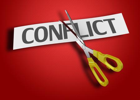 Foto de Scissors cutting paper with text conflict - Imagen libre de derechos