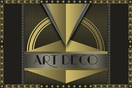 Illustration for Art deco geometric vintage  frame  - Royalty Free Image