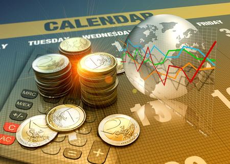 Photo pour Global economics graph and euro coins as finance concept. - image libre de droit