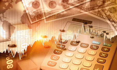 Photo pour Global economy graph and US currency as a finance concept - image libre de droit
