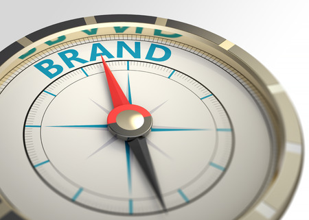Photo pour Compass and an arrow pointing to the word brand - image libre de droit