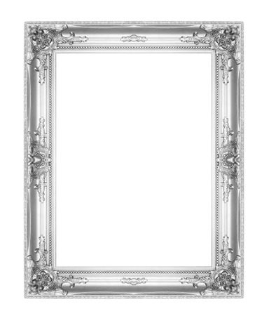 Photo pour old antique silver picture frames. Isolated on white background - image libre de droit