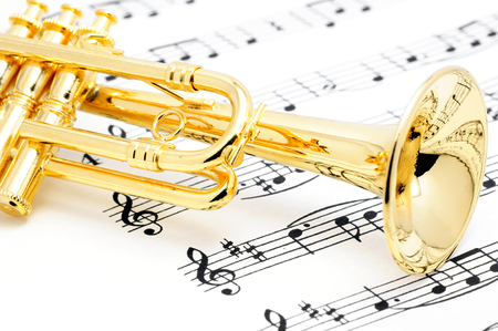 Photo for Trumpet and sheet music  - Royalty Free Image