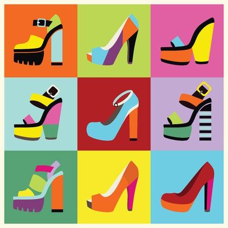 Retro pop-art women platform high heels poster