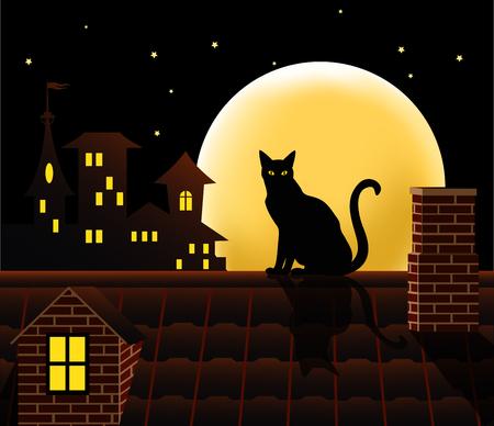 Illustration pour Cat on the roof. Vector illustration. - image libre de droit